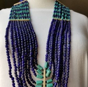 Jewelry - Blue and Teal Beaded Multi Strand Necklace